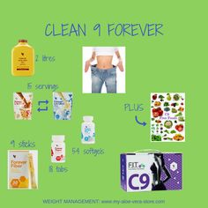#style Clean 9 Forever - in your C9 pack you receive all these healthy ingredients in the exact quantities you'll be needing them for the 9 days of Clean 9 Diet - plus a great choice of free foods from the list given. Oh, and if you order direct from a Forever Business Owner you also get Forever's 60-Day Money-Back Guarantee! Click the video link for more C9 info - or order your pack from www.my-aloe-vera-store.com #clean 9 forever #clean 9 diet #aloe vera diet #c9