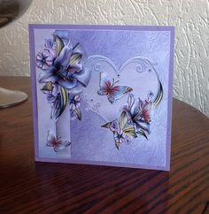 hart met bloemen lila