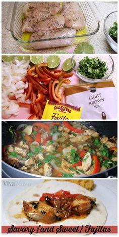 Savory {and Sweet} Fajitas!  Take a packet of ordinary fajita seasoning and jazz it up to make these simple, yummy fajitas!
