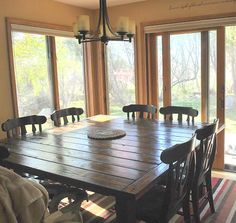 DIY Square Dining table....Diningroom! Perfection!..Being married to a carpenter = happiness!