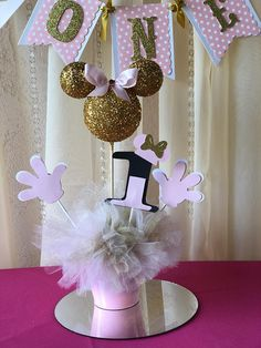 Minnie Mouse centerpieces stick/ Gold and pink Minnie mouse/ Minnie Mouse theme/ Happy birthday Minnie Mouse