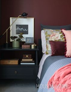 H&Hs Jennifer Koper embraced a beautiful burgundy for the walls in her condo bedroom. Home Decor Bedroom, Decor, Home Bedroom, Bedroom Interior, Dreamy Bedrooms, Home Decor, Condo Bedroom, Bedroom Colors, Burgundy Bedroom