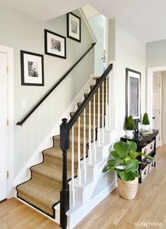 How to update your staircase - painted staircase makeover with seagrass stair runner