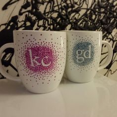 DIY mugs! Sharpie paint pens on Target mugs; put them in a cold oven, set to 350 then turn it off after 45 minutes. Leave in until cool :)