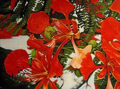 """Royal Poinciana Acrylic on canvas 30"""" x 40"""" by Caren Sarmiento"""
