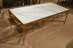 Grace Gold Leafed Coffee Table with White Marble Top - Worlds Away