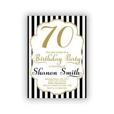 CUSTOM Gold Happy Birthday 70th Invitations Cards 5 x 7 inch