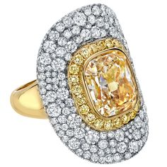 Tamir 5.30 Carat GIA Cert Light Yellow Diamond Gold Platinum Ring | From a unique collection of vintage cocktail rings at https://www.1stdibs.com/jewelry/rings/cocktail-rings/