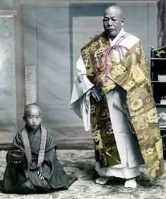 Buddhist priest and attendant. Hand-colored photo, about 1880's, Kobe, Japan, by T Takagi.