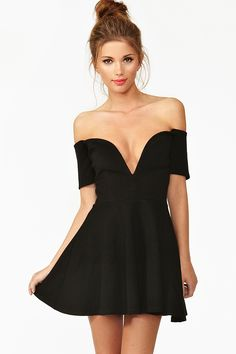 Wired Skater Dress in Black