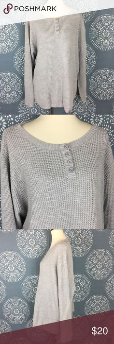 """NWOT Woman Within Gray Sweater Woman Within gray sweater - new without tags. It still has the extra button attached to it. It is a comfy oversized waffle knit with 4 buttons at the top. Cotton/acrylic blend. New condition.  29.5"""" armpit to armpit 28.5"""" long Woman Within Sweaters Crew & Scoop Necks"""