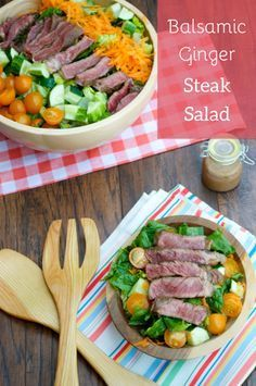 Balsamic Ginger Steak Salad. Asian-marinated beef is paired with a ...
