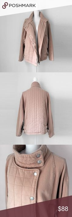 """FREE PEOPLE pink moto biker jacket sweatshirt s m FREE PEOPLE   quilted. ultra plush, quality weight, distressed cotton, fully lined with pure cotton. high collar. asymmetric placket. batwing sleeves. vintage rose color. deep pockets.  excellent, new with tag. pet/smoke free. tiny hole by left clavicle, see photos.  laid flat, seam - seam: chest: 24.5""""  shoulder to hem: 26"""" collar to cuff: 27.5""""  * OVERSIZED xs, fits like a medium.  diy appeal worn in favorite motorcycle Free People Jackets…"""