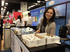 Oksana Panasenko, the founder of Dairyface, giving away samples at Natural Products Expo West.