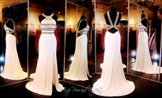 Ivory Gold Jersey Prom Dress-High Beaded Neckline-Open Back-High Slit-115EC0150580411 at Rsvp Prom and Pageant, Atlanta, Georgia