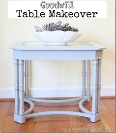 Goodwill Table Makeover - A $12.95 table gets a new look!  www.virginiasweetpea.com  #goodwillmakeover