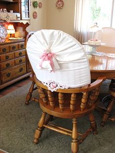 I used pillowcases to cover the chairs! The Beehive Cottage