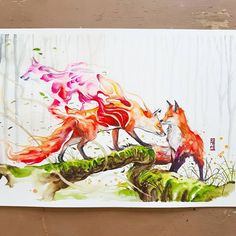 """""""Tales of Fox"""" Watercolor on paper size A3 300gsm. 3rd painting for today 😤. #watercolor #watercolours #watercolour #artwork #painting #illustration #fox by #jongkie"""
