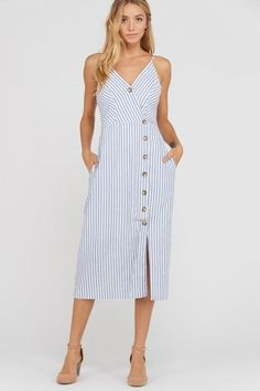 Cotton Striped Button Dress with Pockets Best Prom Dresses, Summer Dresses, Myanmar Dress Design, Casual Dresses, Casual Outfits, Deep V Neck Dress, Fall Outfits, Fashion Outfits, French Street Fashion