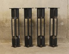 """Metal Table Legs- 28"""" - Set of (4) Legs- Arts and Crafts Style"""