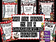 Fluency Posters Pirate Theme: Be a Swashbuckling Reader! Elementary Music, Elementary Teacher, Classroom Design, Classroom Themes, Pirate Bulletin Boards, Letter Size Paper, Pirate Theme, Reading Levels, Kindergarten Teachers