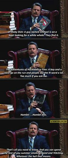 Summer reading with Ron Swanson