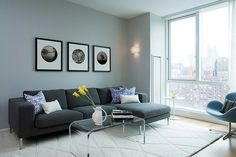 living room ideas with grey couch decor Living Pequeños, Living Room Grey, Living Room Decor, Modern Living, Living Room Wall Designs, Paint Colors For Living Room, Grey Couch Decor, Gray Sofa, Gray Sectional