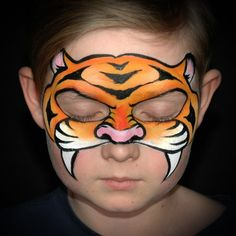 Eye-Friendly Tiger Face Paint Step-By-Step by Annabel Hoogeveen - Tiger Mask Face Paint Tutorial: Step by Step Guide - Simple Tiger Face Paint, Lion Face Paint Easy, Tiger Face Paints, Mask Face Paint, Face Painting Tutorials, Face Painting Designs, Paint Designs, Yakuza Tattoo, Parts Of The Nose