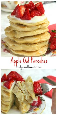 Apple Oat Pancakes; sweet, fluffy healthified pancakes with pops of apple and no sugar or butter they make a fantastic breakfast or snack.
