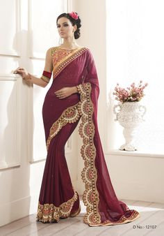 Buy This Maroon Chiffon Heavy Zari Embroidery Work Designer Party Wear Saree.  Buy Now:- http://www.lalgulal.com/sarees/maroon-chiffon-heavy-zari-embroidery-work-designer-party-wear-saree-719 Cash On Delivery & Free Shipping only in India.For Other Query Just Whatsapp Us on +91-9512150402 Or Mail Us at info@lalgulal.com.