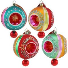 New Christopher Radko Rare Crown Sparkles Delux Fantasia Christmas Ornament 4pc. #1011775