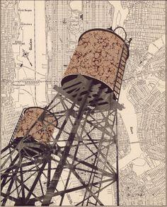 William Steiger ~ Water Tower  #collage