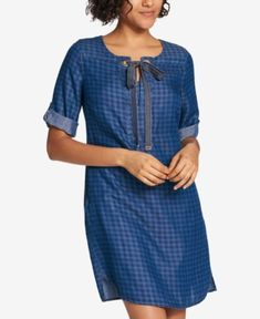 TOMMY HILFIGER TIE-NECK SHIRTDRESS, CREATED FOR MACY'S. #tommyhilfiger #cloth #
