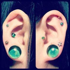 Today's Ear! #anatometal #glasswearstudios #tragus #plugs #glassplugs #bodyjewelry