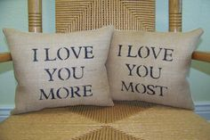 These fun I Love You More, I Love You Most accent pillows are a great way to remind that special someone how much you Love them everyday!…
