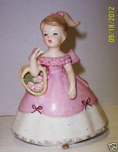 "Vintage Napco Napcoware 5 5"" Tall Girl with Flowers Planter Figurine Mint RARE   eBay"