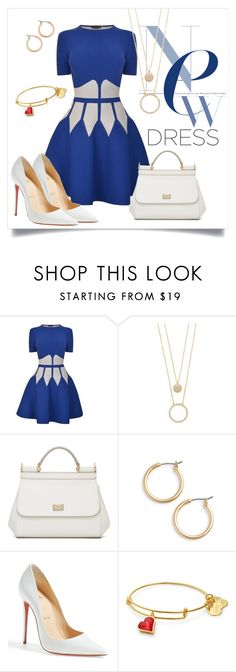 """""""Blue Two Tone Dress"""" by lifestyle-alisa ❤ liked on Polyvore featuring Alexander McQueen, Kate Spade, Dolce&Gabbana, Nordstrom, Christian Louboutin, dress, twotone, contestentry and twotonedress"""