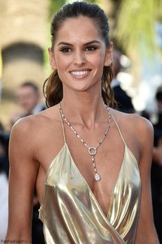 """Izabel Goulart wears Boucheron necklace at the """"The Last Face"""" Premiere during the 69th annual Cannes Film Festival."""
