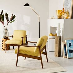 Mid-Century Show Wood Chair - lampadaire Small Accent Chairs, Accent Chairs For Living Room, My Living Room, West Elm, Mid Century Armchair, Black Floor Lamp, Mid Century Decor, Mid Century Modern Lamps, Diy Chair