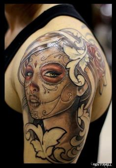 Beautiful sugar skull girl tattoo