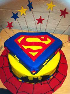 Spider~Man, Batman, & Super~Man cake!   cakecentral.com