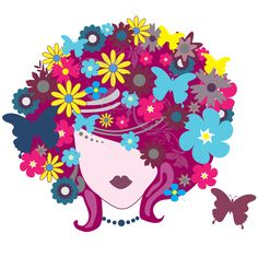 Find images of Woman Pretty Flowers. ✓ Free for commercial use ✓ No attribution required ✓ High quality images. Flowers In Hair, Pretty Flowers, Purple Flowers, Flower Hair, Butterfly Hair, Butterfly Flowers, Butterflies, Illustrations, Floral Style