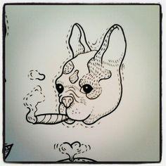 Pti chien au cigare
