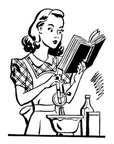 Click on Image to Enlarge This is another cutey patootie image from the 1940's Printers Book! This one shows a young Wife or Mom,  who appears to be Baking or Cooking. She's got her recipe book in hand, her mixing bowl and a hand mixer. So cute! This one might work well for Mother's Day...Read More »