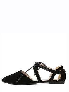 ca1bb43000022b Shop Black Cutout Lace-up D orsay Flats online. SHEIN offers Black Cutout  Lace-up D orsay Flats   more to fit your fashionable needs.