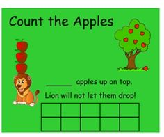 "Smartboard ""Ten Apples Up on Top"" by Dr. Seuss. The students will move the apples to the 10 frame to count how many apples"