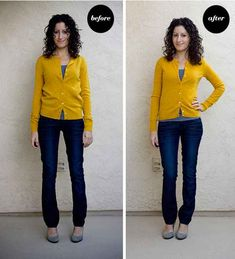 Clothing that's stretched over time or doesn't fit quite right? Depending on the fabric, you might be able to (carefully!) shrink it: 17 Super Useful Styling Tips For Women Under Petite Fashion Tips, Petite Outfits, Petite Dresses, Fashion Advice, Trendy Outfits, Fashion Outfits, Curvy Petite Fashion, Petite Clothes, Fashion Bloggers