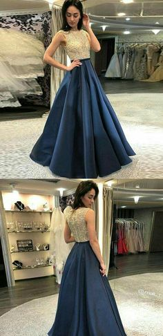 7aab12d134 A-Line Round Neck Floor-Length Navy Blue Prom Dress with Sequins