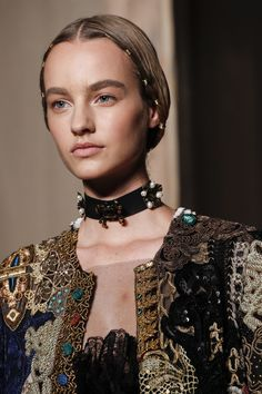 Super cool choker... what to do with that single earring or great pair + brooch. Stay tuned for brooch remakes with Threadhead TV.~Valentino Fall 2016 Couture Fashion Show Details