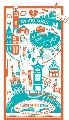 Orange and green screen print of Wimbledon, South London London Illustration, Travel Illustration, Illustration Styles, Pop Art, London City, South London, West London, Thing 1, Illustrations And Posters